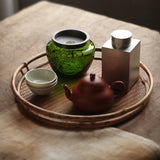Green coloured glaze glass pot, small Jianshui jar, green glass water pot, Gongfu tea set, washing wastewater can, dry foam can, Kung Fu tea accessories