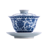 Hand-antique blue and white porcelain sancai gaiwan
