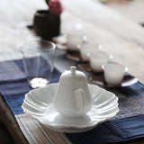 Hand-carved White Porcelain Sunflower Teapot Tray