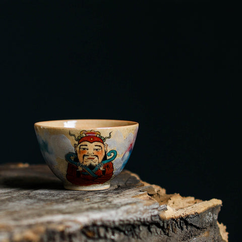 Hand-painted Chinese God Fortune Kiln Transmutation Master Teacup Ceramics Pure Hand-made Personality Tea Cup Single Cup