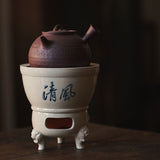 Hand-painted Poetry Stove Pure Handmade Three-legged Tea Stove Powder Yin Tiliang Pot Boiling Teapot Qingfeng Charcoal Stove