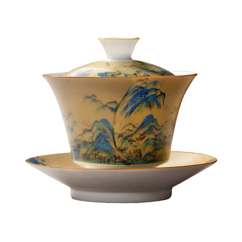 Hand-painted Qianli Jiangshan Ceramic Sancai Cover Bowl Master Tea Bowl Hand-grabbing Pot Tea Maker