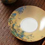 Hand-painted Qianli Jiangshan ceramic sancai cover bowl master tea bowl Jingdezhen tea set Jing tea bowl hand-grabbing pot tea maker