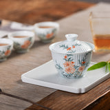 Hand-painted peach blossom Taihu stone shadow green carving cover bowl tea bowl tea set suit floral retro small teacup
