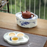 Hand-painted rectangular tea tray Chaoshan Kungfu tea boat dry bubble tea pot ceramic tea tray