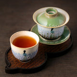 Color glaze hand-painted sancai cover bowl teacup Jingdezhen pure handmade ceramic bubble tea ancient bowl