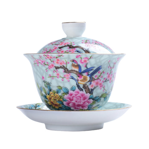 Jingdezhen ceramic cover bowl hand-painted sancai bowl pastel flowers and birds tea bowl Kung Fu tea set tea cup