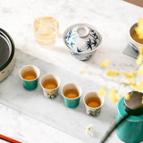 Hand-painted Lute Pomegranate Coarse Pottery Turquoise Teacup Kung Fu Tea Set Tea Cup Master Cup