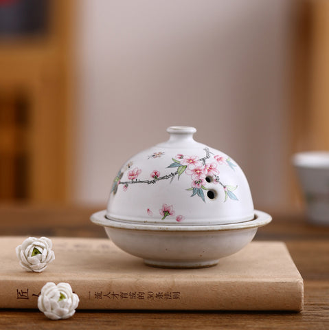 Hand-painted Osmanthus Peach Blossom Magnolia Flower Incense Burner Household Zen Aromatherapy Burner