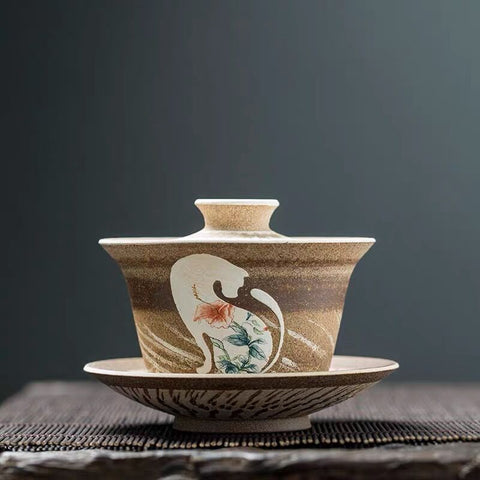 Hand-painted three-dimensional rustic coarse pottery cover bowl fair cup retro pottery cup handmade ingenuity art tea set simple tea bowl
