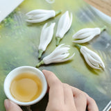Hand Pinch Ceramic Flower  Tea Pet White Magnolia Flower  Chaxi Decoration