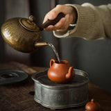 Hand forged brass side pot antique copper kettle electric ceramic stove charcoal stove boil kettle kungfu tea set