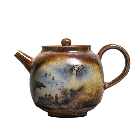 Hand made chai kiln color glaze large teapot ceramic filter teapot