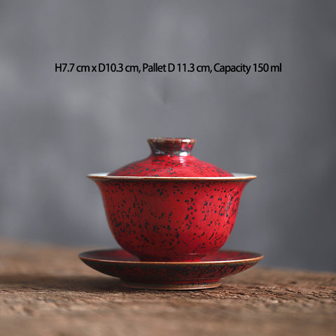 Handmade Warring States red ceramics cup red glaze master cup cover bowl retro tea set
