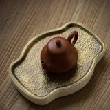 Handmade bronze hammer pattern pot holder teapot storage water dry bubble tea tray bream tea tray ceramic tea tray tea set
