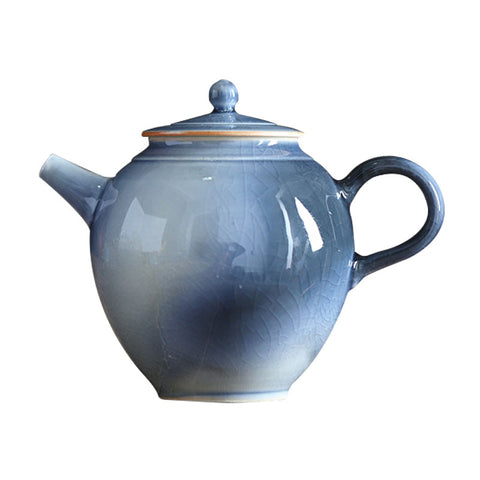 Handmade brook blue glaze teapot Jingdezhen ball hole teapot master pot