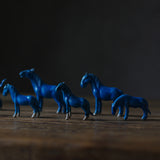 Handmade ceramic blue glaze pony tea pet small tea room small ornaments