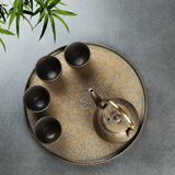 Handmade gilt glaze ash tea tray stoneware pot ceramic tea tray Kung Fu tea set water storage dry bubble tray tea boat