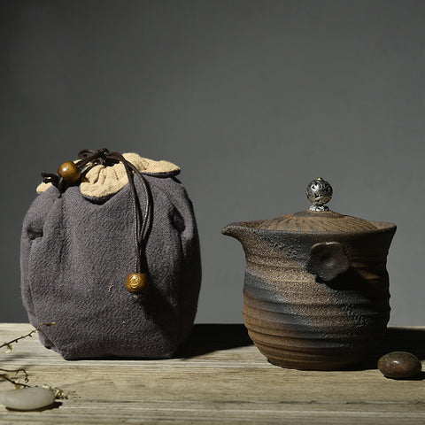 Handmade Raw Ore Stoneware Quick Cup Teapot Set (Random Travel Bag Color And Without Cup)