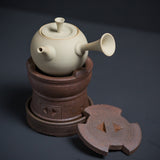 Handmade Red Mud Portable Charcoal Stove White Mud Side Teapot Kettle Alcohol Stove Tea Set