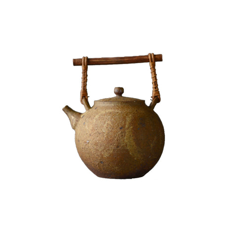 Handmade stoneware tea pot old rock peat fire kettle bamboo handle beam teapot
