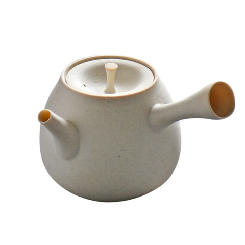 Handmade side handle white clay kettle