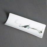 Jingdezhen Ceramic Handmade Tea Scoop White Porcelain Ink Painting Cha Ze