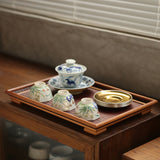Handmade bamboo weave tea tray tea boat dry bubble tray Bamboo Tea Set