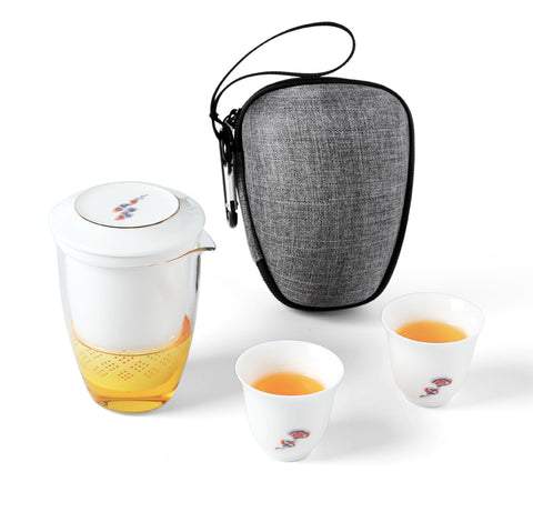 Heat-resistant glass Kung Fu tea set carrying case travel set