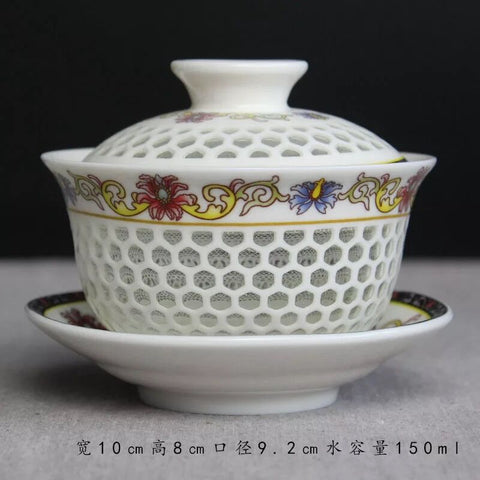 Honeycomb Linglong Tea Bowl Jingdezhen Kungfu Openwork Bowl Extra Large Handmade Blue and White sancai Bowl Tea Set