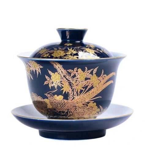 Indigo glaze sancai gaiwan teacup Jingdezhen hand-painted gold enamel ceramic Kung Fu tea set bowl cover bowl tea bowl tea set