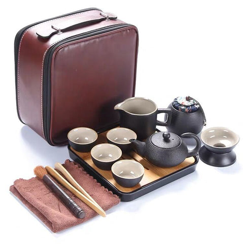 Japanese-style Black Pottery Kung Fu Tea Set Portable Travel Tea Set Fast Teacup Hotel Teaware Gift Custom