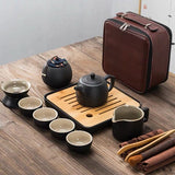 Japanese-style black pottery Kung Fu tea set portable travel tea set fast teacup hotel teaware one pot four cup gift custom