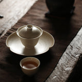Japanese-style ceramic cover bowl handmade sancai gaiwan Kung Fu tea set vintage tea bowl