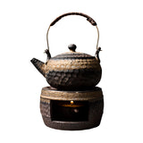 Stoneware Teapot Handmade Warm Tea Stove Firewood Tea Set Ceramic Tea Set