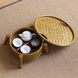 Japanese Style Bamboo Tea Set Storage Box Tea Table Household Dustproof Portable Tea Tray Small Tea Table Tea Ceremony Spare Parts