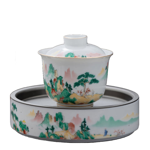 Jiangshan Splendid White Porcelain Kung Fu Tea Set Household Japanese Style Dry Brew Table Cover Bowl Tea Caddy Tea Cup Set