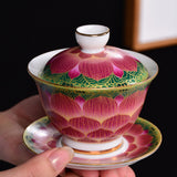 Jingdezhen cover bowl tea cup enamel large ceramic tea bowl tea set