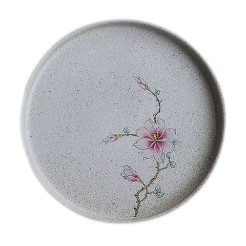 Jingdezhen ceramic Japanese-style stoneware glaze on hand-painted magnolia small disc teahouse small tea tray dry bubble tea boat
