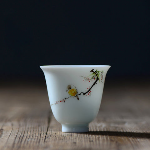 Jingdezhen ceramic hand-painted flowers and birds cups pastel magpie teacup Kung Fu tea set tea cup master cup