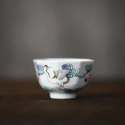 Jingdezhen Porcelain Hand-painted Pastel BlueAnd White Cups Octagonal Kungfu Cups Eight Square Small Cups