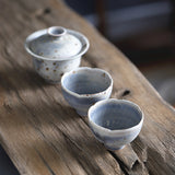 Jingdezhen powder worms cover bowl tea set pot Chengxi Lan glaze Japanese style firewood pottery tea cup