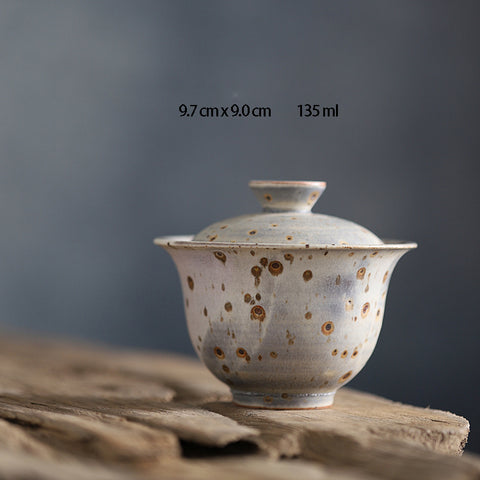 Jingdezhen Powder Worms Cover Bowl Chengxi Lan Glaze Japanese Style Firewood Pottery Tea Set