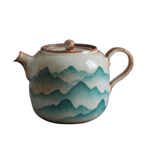 Jingdezhen Hand-painted Single Pot Ceramic Zhi Ye Wood-burning Teapot Tea Maker Kung Fu Filter Teapot