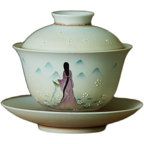 Jingdezhen kiln transmutation ceramic sancai cover bowl hand-painted ancient style beauty back view tea bowl hand-held bowl