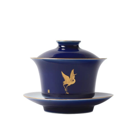 Handmade hand-painted Jinrui crane figure blue sancai gaiwan tea set