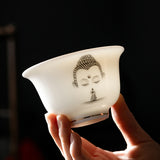 Lamb Fat Jade Bowl Gaiwan Thickened Ceramic Bubble Tea Bowl Kung Fu Tea Set