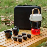 Outdoor Travel Kung Fu Tea Set Carrying Bag With Kettle Stove One Set Quick Cup Tea Set Mobile Tea Set