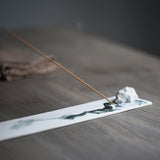 Plain White Handmade Ink Landscape Rectangular Incense Holder Incense Ceremony Accessories