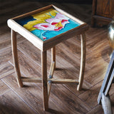 Porcelain Painting Elm Solid Wood Tea Table Creative Folding Chinese Old Elm Furniture Three-color Hand-painted Solid Wood Inlaid Porcelain Painting Sofa Side Table Small Coffee Table